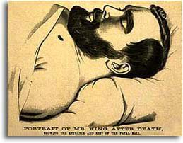 Lithograph of James King of William on his death bed