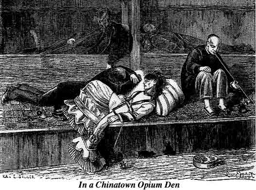 view inside a Chinese opium den in the 1870s
