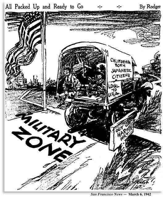 Editorial cartoon in the San Francisco News shows California-born Japanese citizens on back of Army truck as they go to internment camp.