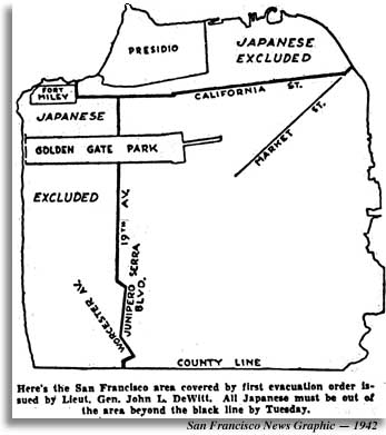 1942 map shows where San Francisco Japanese are banned.