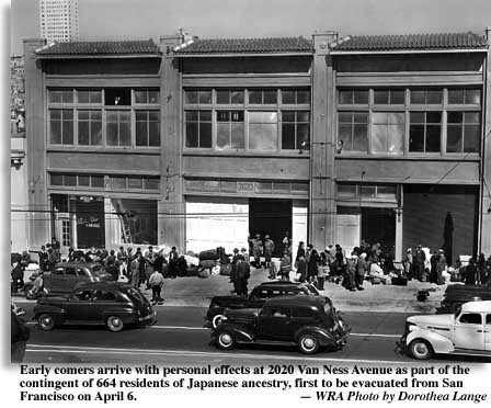 Photo of building at 2020 Van Ness Ave., San Francisco, where Japanese intereees were transported to camps. Photo by Dorothea Lange