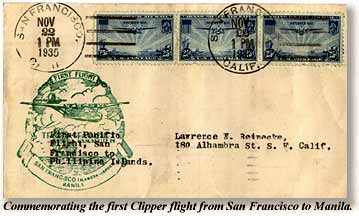First-day air mail stamp cover to commemorate inauguration of San Francisco-Manila service. From the holdings of the Museum.