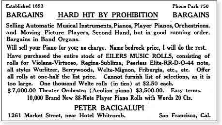 Forced sale of musical instruments, piano rolls, sheet music and such by Peter Bacigalupi because of Prohibition