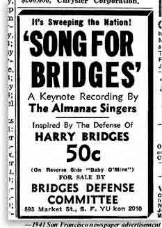 Photo of newspaper ad offering for sale Songs for Bridges, inspired by the 1941 Bridges Defense Committe. A Keynote Recording by the Almanac Singers.