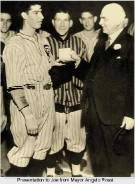 Mayor Angelo Rossi with a presentation for Joe Di Maggio about 1933