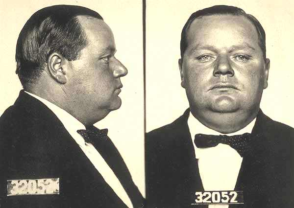 San Francisco Police Department 1921 mug shot of Roscoe Fatty Arbuckle