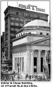 Photo of the Kohler & Chase Building, 20 O'Farrell St., in the 1920s